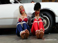 Barefoot Race Queens In Spandex Disco Pants Held Hostage In Garage