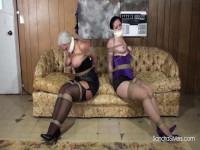 Klaw-Style Corset & Stockings-clad Captives Struggle Topless
