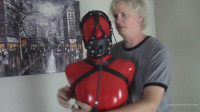 Red Hood, Hobble Dress, And Armbinder