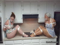 MOTHER ID LIKE TO FUCK Housewives Tightly Tied In The Kitchen By Burglar