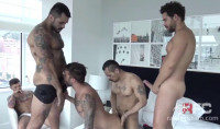 Sexy Muscle Males In Raw Interracial Orgy With DP