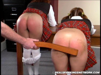 Jasmine And Claire Strapped Animal Play School Spanked For Touching