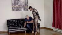 Enchantress Sahrye – Leather Bondage In Sheer Catsuit