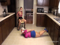Two Milf Housewives Bound And Gagged In The Kitchen By Their Husbands