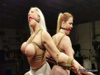 Two Buxom MOTHER ID LIKE TO FUCK Subs, Two Bamboo Poles, And Multiple Ballgagged Bondage
