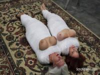 Big-Breasted Mummified MILFs Endure Inescapable Bondage Orgasms
