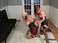 Submissive MOTHER ID LIKE TO FUCK Strapped, Shoe-gagged,  By Sexy Mistress