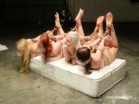 4 Hooded, Hogtied Hotties Hoisted & Gagged On Screen Blonde, Brunette, Redhead