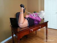 Buxom MOTHER ID LIKE TO FUCK LadyBoss Cruelly Bound And Gagged With Cat5 Cables