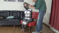 Silver PVC Hobble Dress And Leather Bondage