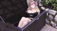 Box Bondage Big-Boobed Babe Bound In Silky Slip Outdoors