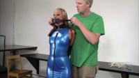 Bdsm Most Popular Secretary In A Blue Latex Dress, Collared, Leashed And Trained