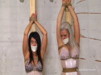 Two Girdle-Bound Milf, Pole-Tied, Arms Overhead, Microfoam Gagged