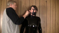 Elizabeth Andrews – Latex Catsuit, Ballet Boots, Strict Leather Thong Wrist And Ankle Bondage
