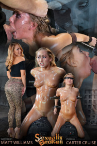 Carter Cruise Blindfolded, Oiled Down, Sybian Blasted To Multiple Orgasm