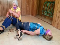 Tight Jeans And Tighter Ropes For Silk Bloused MILFs