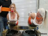 Hooters Hotties Hogtied, Aggressively Gagged & Hooded- On Screen