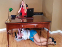 Tied Up MOTHER ID LIKE TO FUCK Secretary Sandra Worships Ladyboss Lisa's Bare Feet