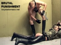 Young punkboy in skintight rubber chaps gets an very very EXTREME spanking by hardest paddle and whip
