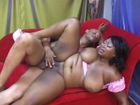Nasty mega boob ebony nailed at red sofa
