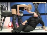 He has already terrible marks all over his body as she humiliates him further by talking his manhood
