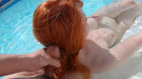 Redhead Underwater Footjob and Wet Hairjob