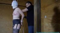 Slave sexy body Rachel's Legs Spread tied extreme standing.