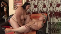 BBW lesbians use strap on to simulate hardcore sex