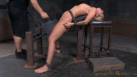 Sexy blonde Madelyn Monroe bound on a sybain and utterly destroyed by dick! Brutal deepthroat!