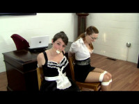 Bound Maid and Mistress Tortured for the Password (tit, mistress, maid).