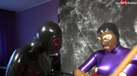 Latex, gas mask and sniffing panties