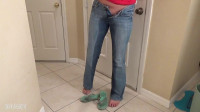 Peeing Her Jeans and Floor - Becky Lesabre - HD 720p (legs, pee, download)...