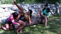 Piss In The Park! Lesbos Fill Their Faces With Piss and Attack That Clit! (english, slutty, piss, genres)