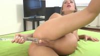 Anal massage with transparent dildo