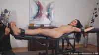 Ticklish gagged orgasm-tickle torture women