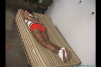 Hooters Girl Neckroped Groped Harness Gagged and Hogtie Suspended