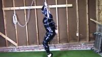 Tight bondage, strappado and hogtie for hot slavegirl