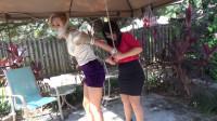 Snooty Blonde Strappado Bound Outdoors