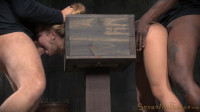 Blue eyed blonde Alina West bolted into a wooden box and roughly fucked by BBC