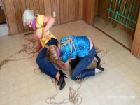 Tight Jeans and Tighter Ropes for Silk Bloused MILFs...