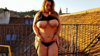 huge tit busty bbw redhead at the roof of house
