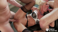 Busty French mature Marina Beaulieu enjoys anal sex with DP in threesome
