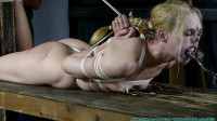 Tight bondage, torture and hogtie for sexy naked slave model