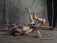 Predicament bondage to take the weight off her thumbs