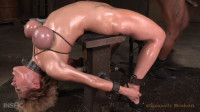 Darling - Busty blonde bound onto anal fucking machine and facefucked by big cock