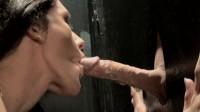Brunette slut loves gloryhole cock sucking