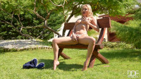 Endless Legs, Endless Lust: Blonde Brit Fingers Her Pussy!