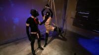 Super bondage, strappado and torture for sexy slut in latex part 2