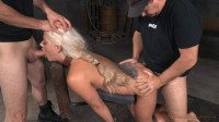 Busty blonde Holly Heart shackled down doggystyle and roughly fucked with epic deepthroat!