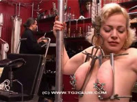 Blonde big tits in press with needles (2014)